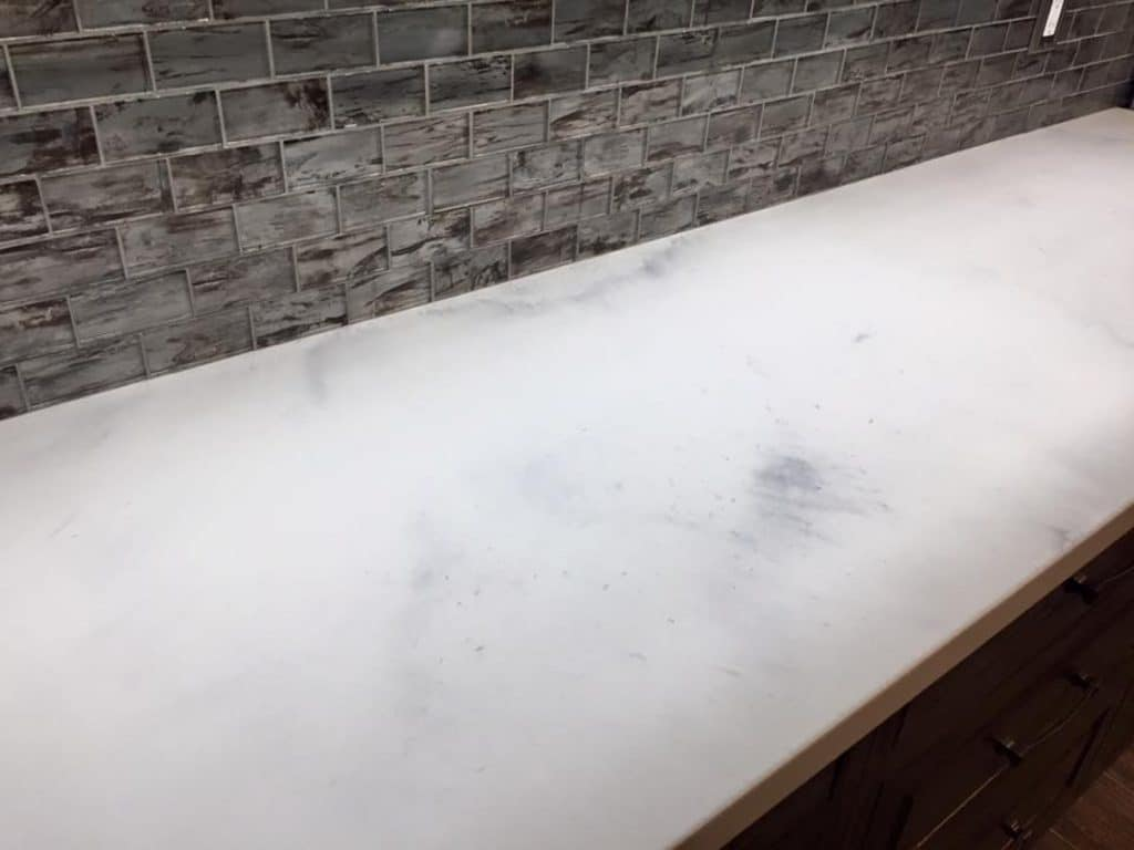 White Marble look concrete, kitchen countertops in Aubrey, Texas