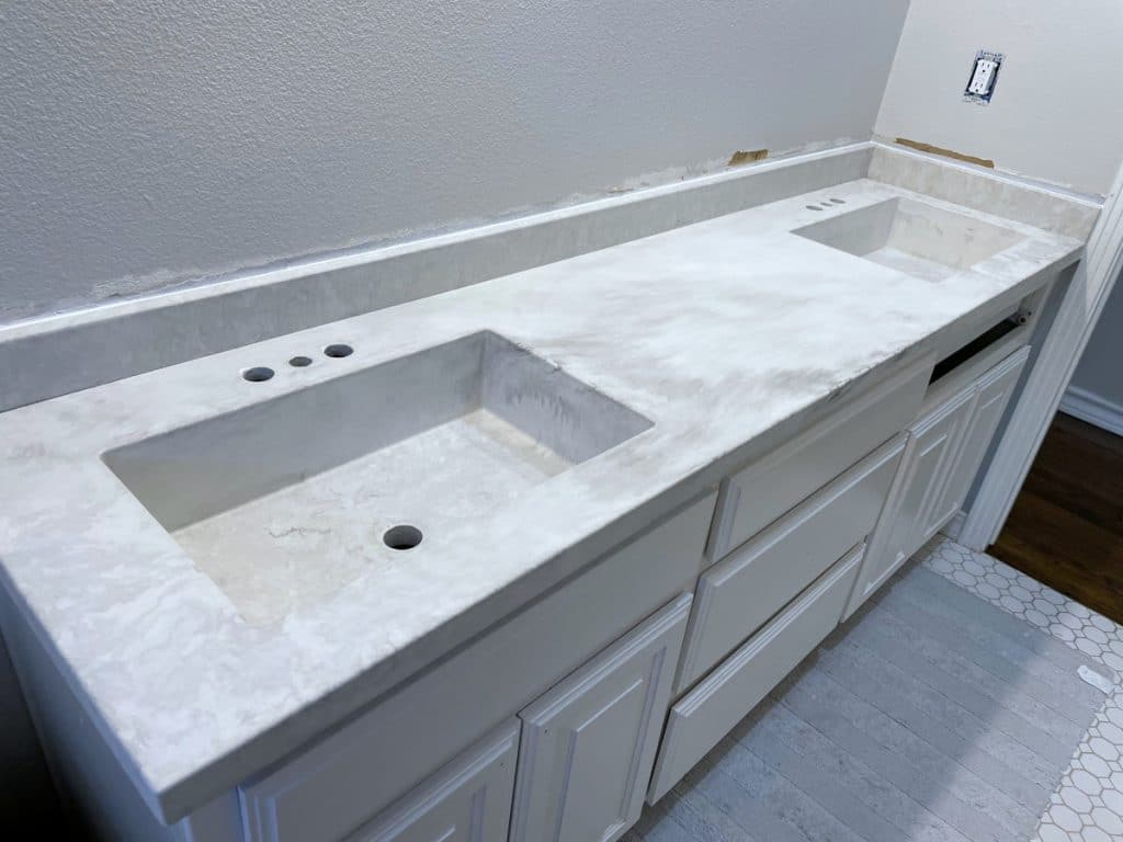 White Marbled Concrete double sink vanity