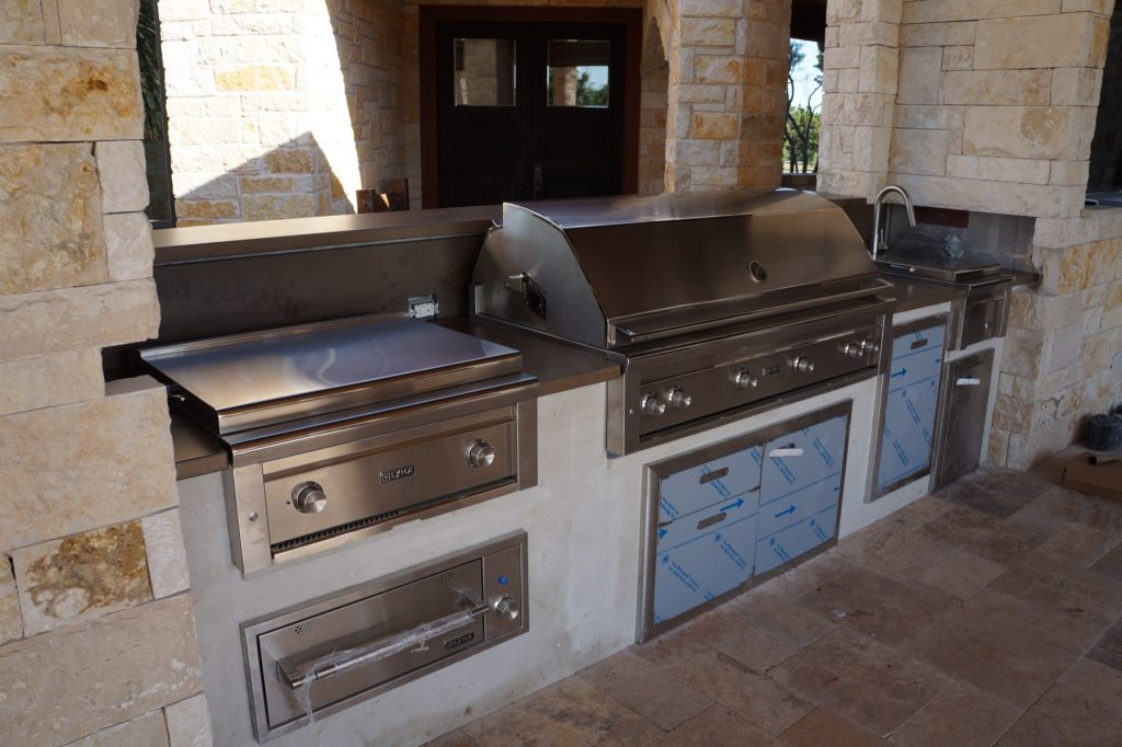 This outdoor kitchen had every outdoor appliance you could think of and probably several you would never think of.