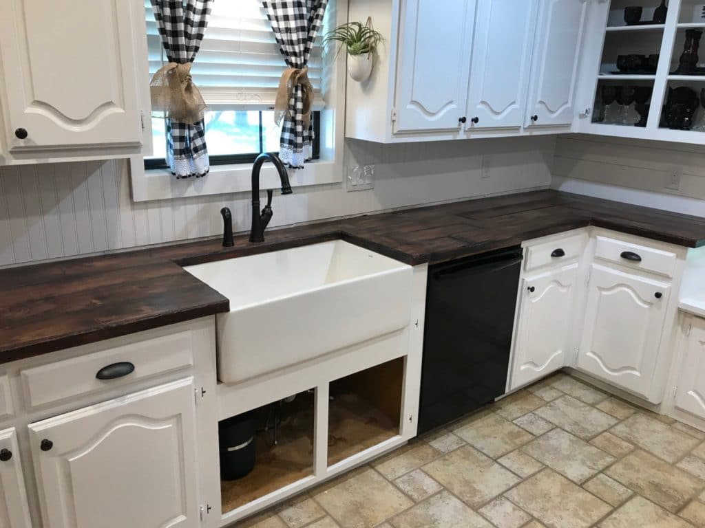 The White Farm Sink Goes Perfectly with our Wood Look Top!