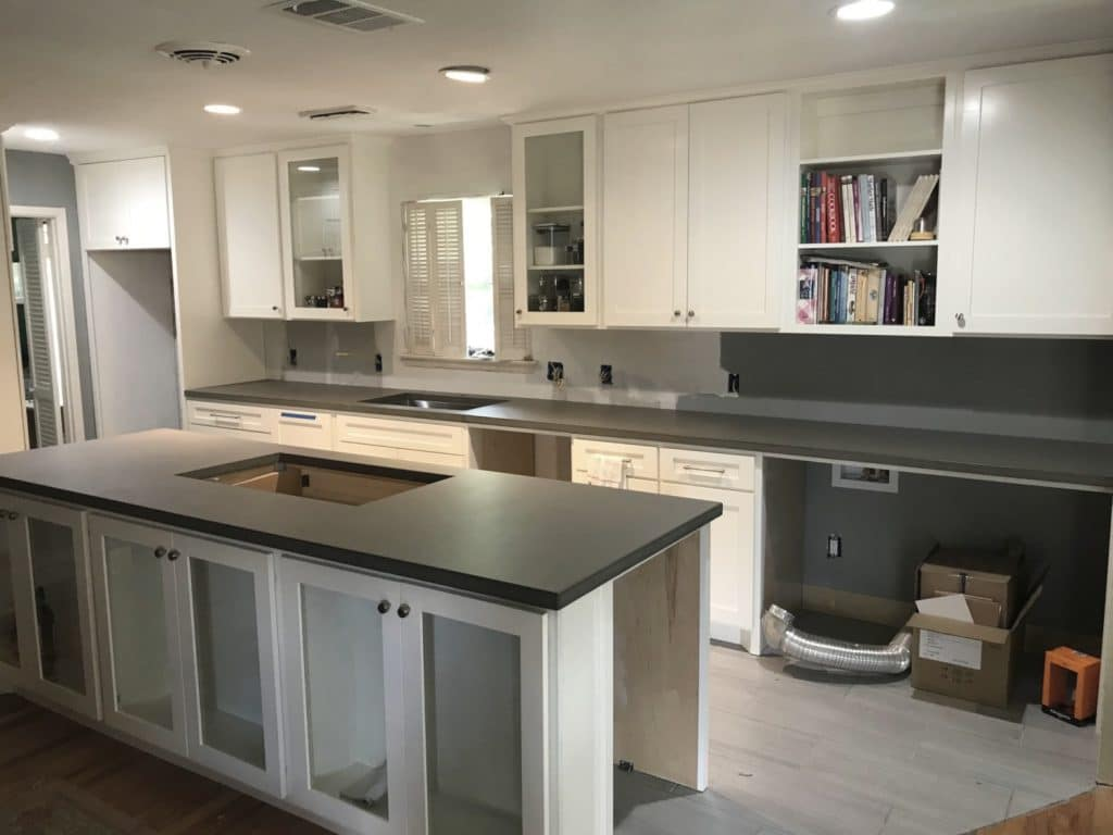 Grey Concrete Kitchen Countertops with Stainless Steel Sink