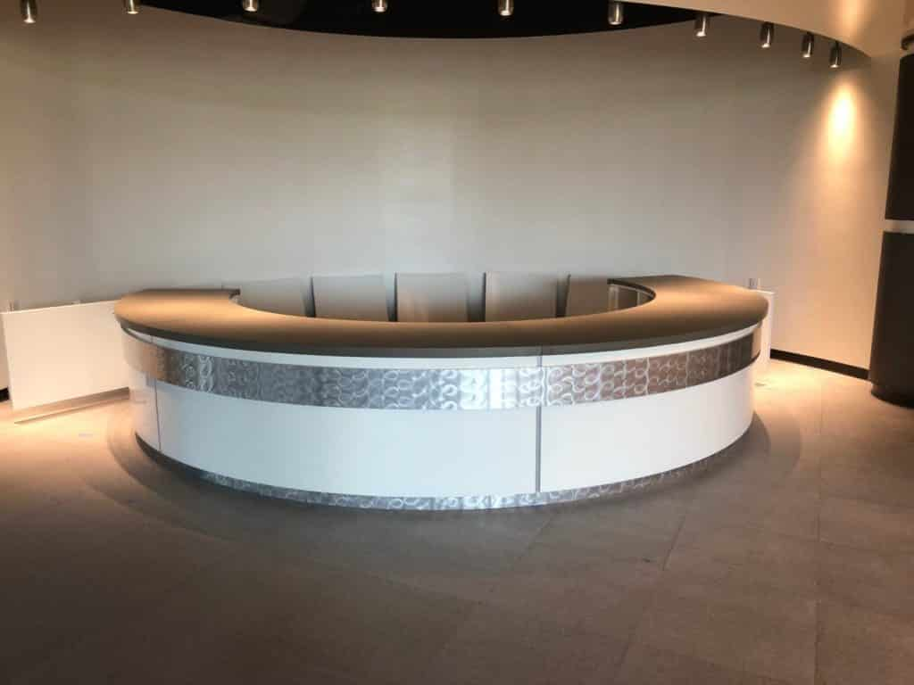 Large Half Circle Reception Desk Made for the Toyota Headquarters