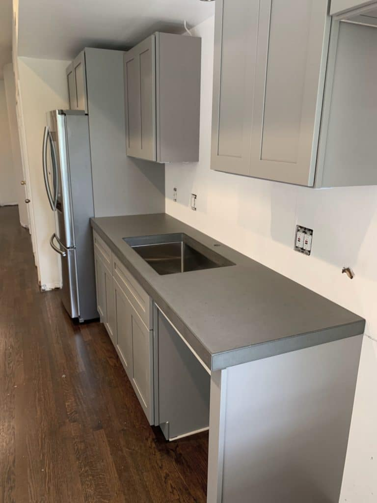 "2"" Grey Concrete Countertops installed in a home in Dallas, Tx"