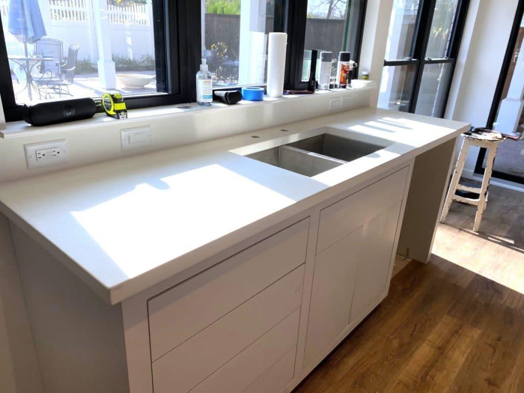 Stark white concrete countertops with undermount sink