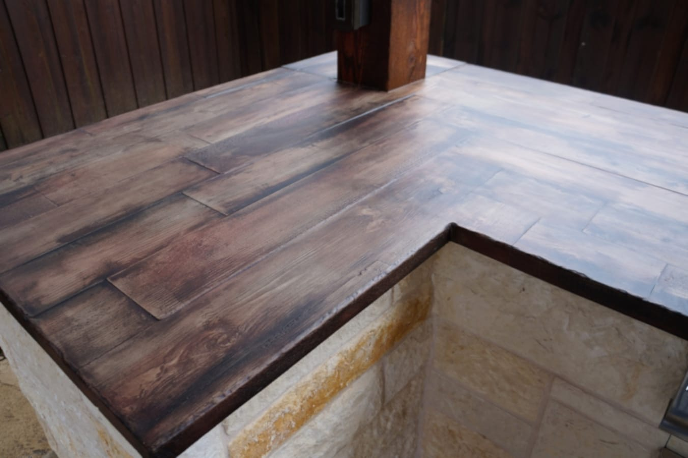 Custom Wood Look Concrete Countertops for an outdoor kitchen