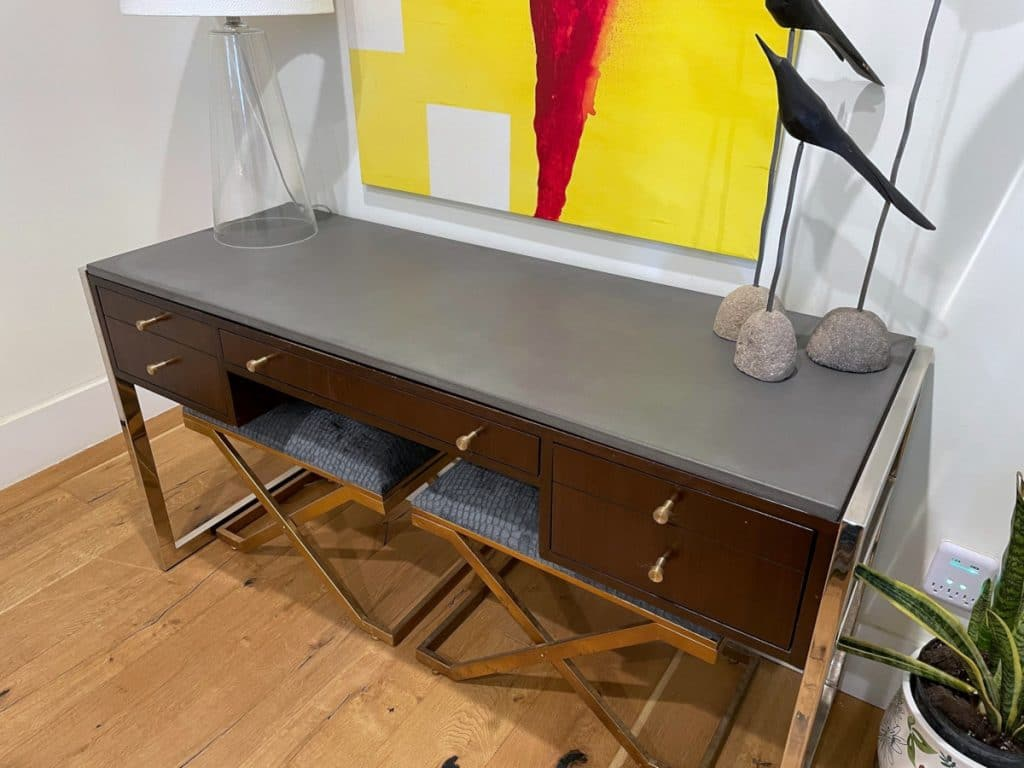 """Sleek 3/4"""" thick slab to top of this beautiful desk!"""