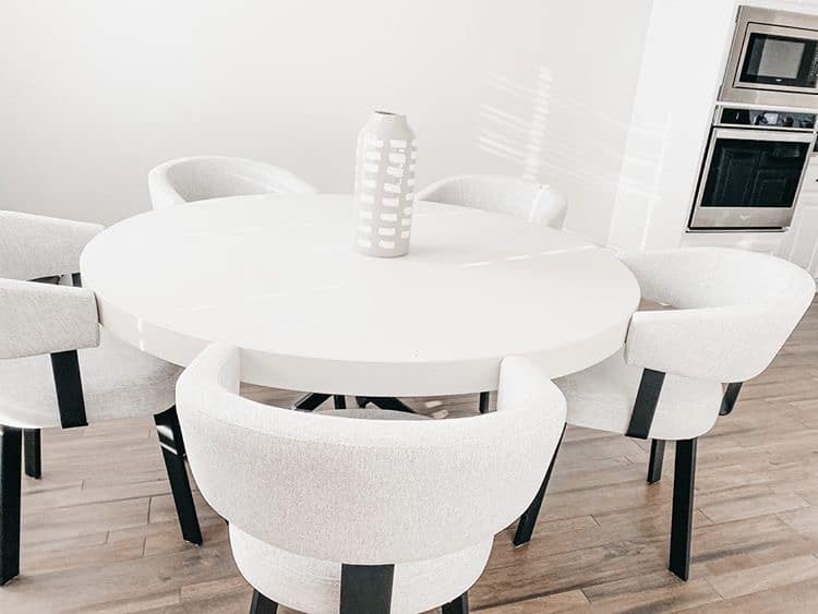 Custom White Concrete Circular Dinning Table for a Home in Frisco, Texas