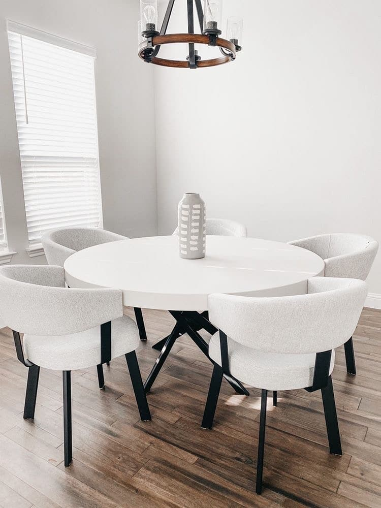 White Concrete Circular Table Frisco Tx