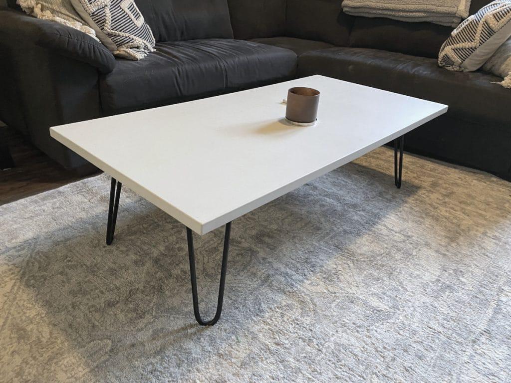 White Concrete Coffee Table in Frisco Texas
